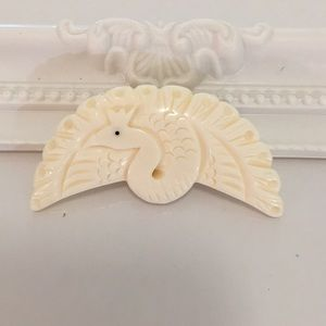 Beautiful ivory carved peacock Brooch pin